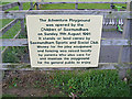TM3863 : Sign on the Adventure Playground by Adrian Cable