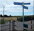 ST5169 : Cycle route signpost, Station Road, Flax Bourton by Jaggery
