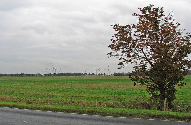 Flat fields and Coldham Wind Farm