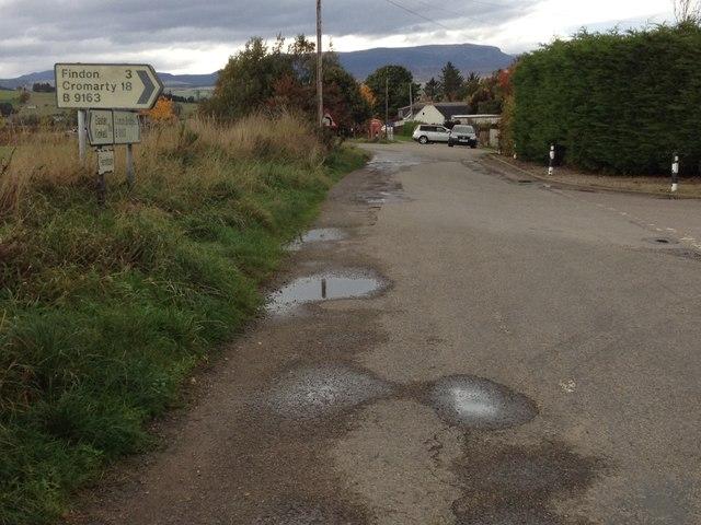 Road junction at Alcaig