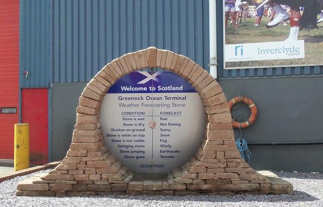Welcome to Scotland, Weather Forecasting Stone, Greenock Ocean Terminal, Greenock