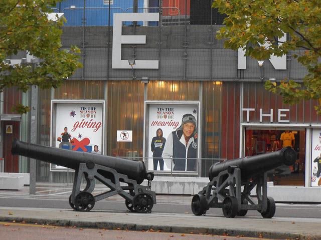 Cannon outside the Emirates Stadium