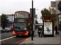 TQ3185 : Bus stop outside LMU building, Holloway Road by Stephen Craven