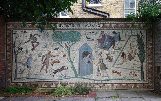 Shepherdess Walk mosaic project: single panel view