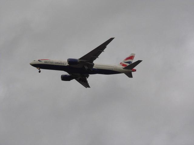 British Airways flight about to land at Heathrow