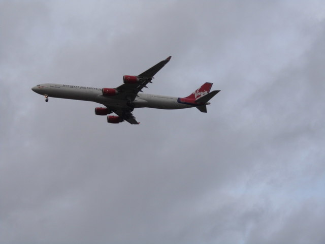 Virgin Airlines plane about to land at Heathrow