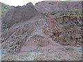 NZ8712 : Mudslide, Upgang beach by Pauline E