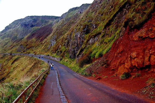 Antrim Coast - Giant's Causeway - Shuttle Bus Road & Reddish Hillside