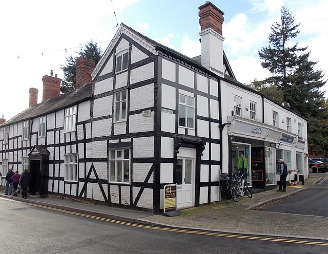 Black and white corner of High Street and The Square, Church Stretton