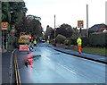 SO4594 : Temporary traffic lights, Shrewsbury Road, Church Stretton by Jaggery