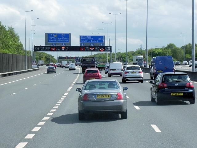 M25 Anti-clockwise, Thorpe Interchange