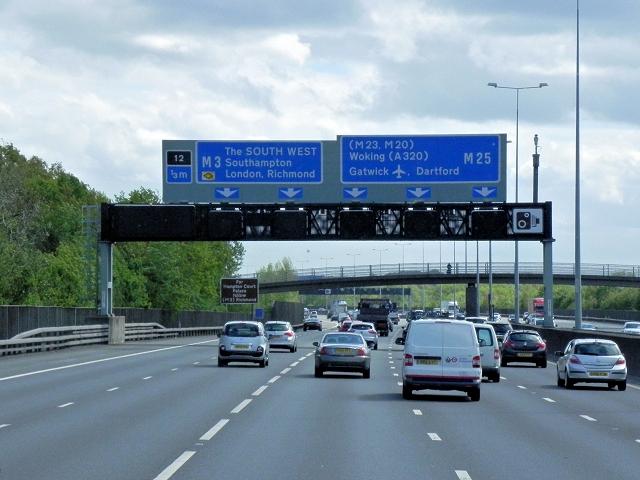 M25 Approaching Junction 12 (Thorpe Interchange)