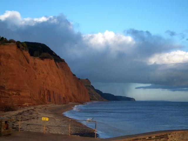 Dark clouds over the sandstone cliffs