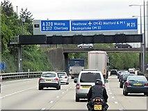 TQ0464 : Sign Gantry and Church Road Bridge (Clockwise M25) by David Dixon