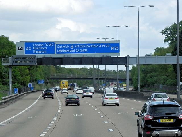 M25 near Junction 10 (Wisley)