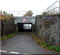 ST7291 : Station Road side of a low railway bridge in Charfield by Jaggery
