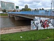 SX9192 : Spray-paint art on western Exe Bridge (1) by David Smith