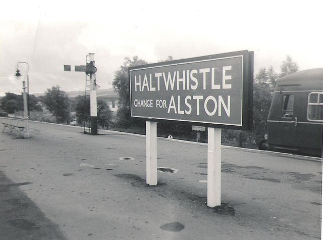 Branch train for Alston stands at Haltwhistle