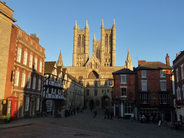 Classic view of Lincoln Cathedral and Castle Square