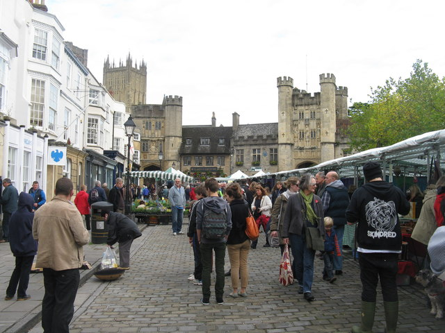 Wells Market Place, with market