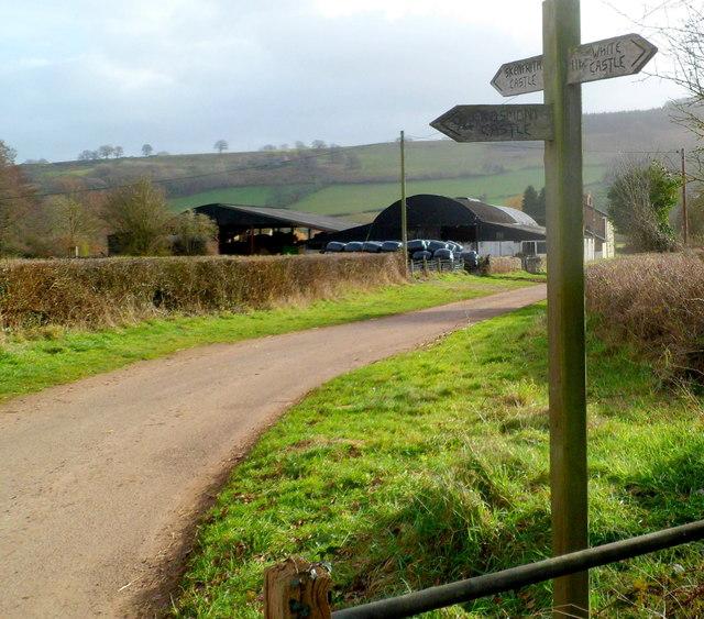 Three Castles signpost near Skenfrith