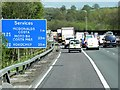 TQ4054 : M25 Services Ahead by David Dixon