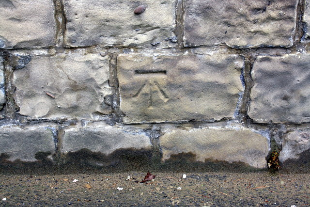 Benchmark on outbuilding wall of #46 Aberford Road