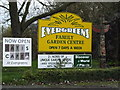 TM4287 : Evergreen Garden Centre & Satis Cafe signs by Adrian Cable