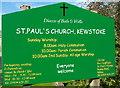 ST3363 : Colourful nameboard, St Paul's church, Kewstoke by Jaggery
