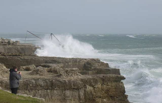 The Red Crane Portland Bill during Storm St Jude