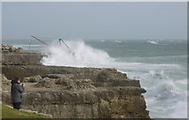 SY6768 : The Red Crane Portland Bill during Storm St Jude by sue hogben
