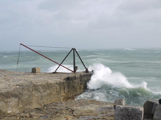 Rough seas off Portland Bill