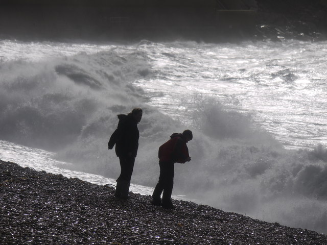 Storm watchers Chesil Cove Portland