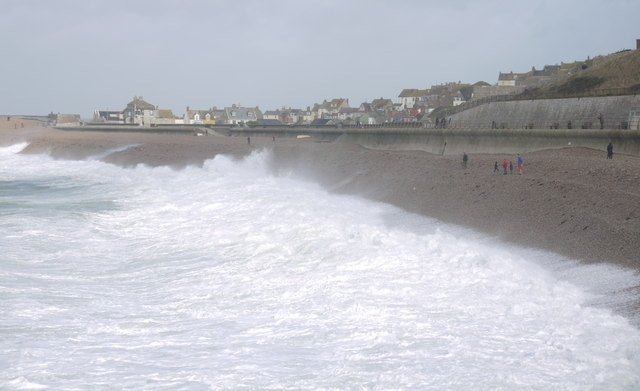 Stormy seas in Chesil Cove, Portland