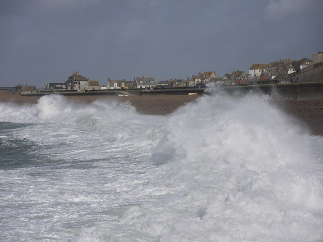 Storm waves Chesil Cove Portland