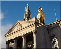 SE2934 : Leeds Civic Hall with one of the city's golden owls by Neil Theasby