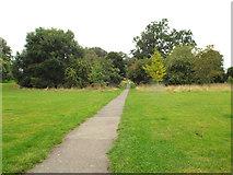 SP2865 : Straight tarmac path west, Priory Park, Warwick by Robin Stott