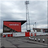 SU1585 : The Arkell's Stand and a floodlight tower, Swindon by Jaggery