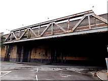SS6593 : SE side of a railway viaduct near Swansea station by Jaggery