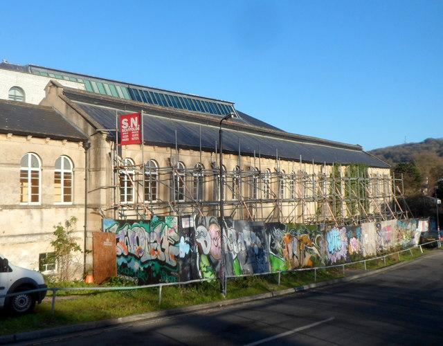 Scaffolding and graffiti in Bath