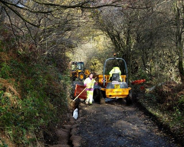Repairing Harewood Road - east of Cathole Farm