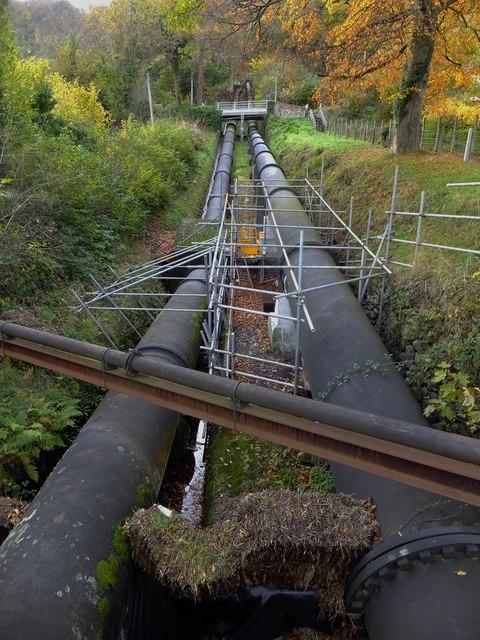 Water pipeline at Dolgarrog
