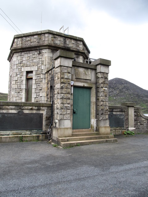 The front of the valve house at Silent Valley Reservoir