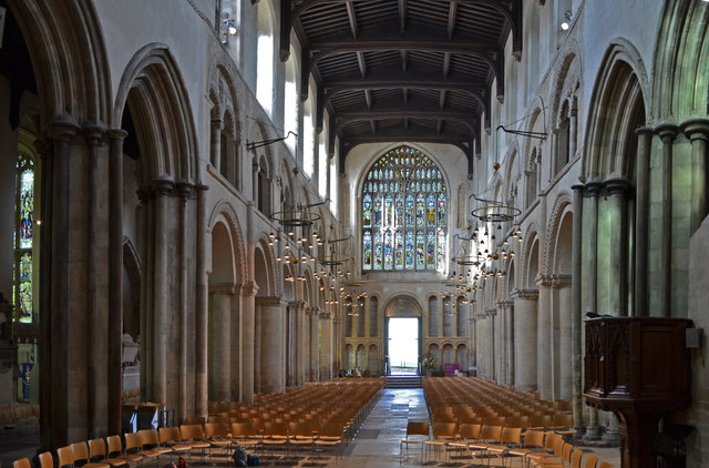 Rochester Cathedral nave, looking west