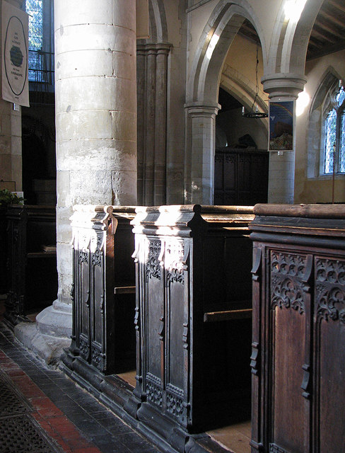 Bourn: St Helena and St Mary - pews and piers