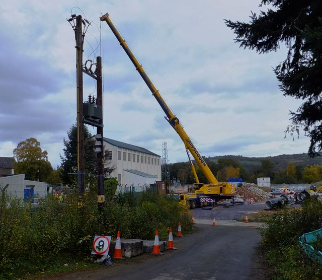 Crane at the Dolgarrog site