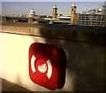 TQ3280 : Lifebelt on the Thames wall by Stephen Craven