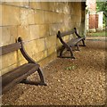 SP8658 : Wooden benches in an arbour, Castle Ashby Gardens by Robin Stott
