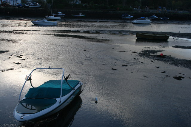 Boats on the estuary in Looe