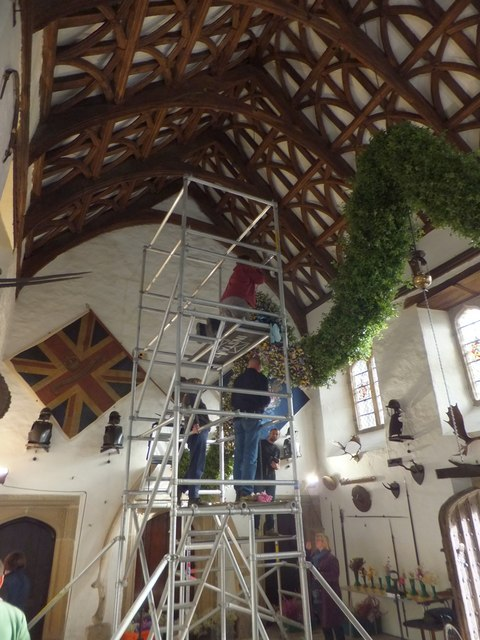 Preparing the garland, Cotehele House